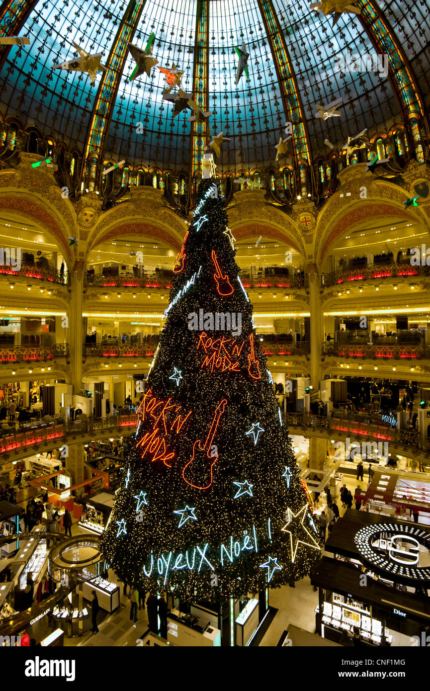 Christmas Paris France.Galeries Lafayette Christmas Paris France Stock Photo
