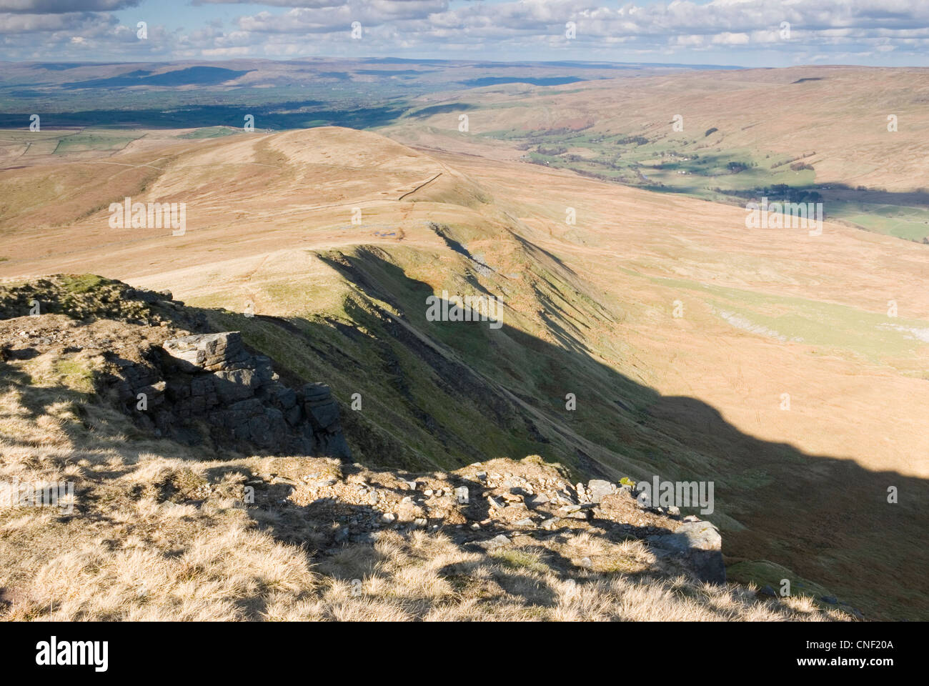View from the Wild Boar Fell ridge in the Upper Eden Valley in Cumbria - Stock Image