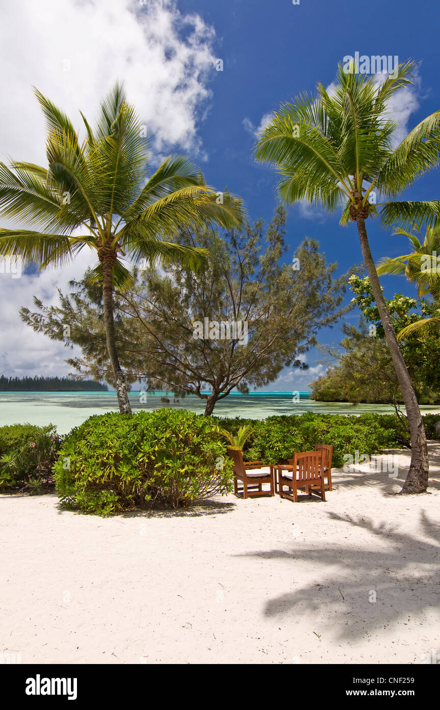 Table and chairs on the beach of Le méridien resort - Ile des Pins, New Caledonia - Stock Image
