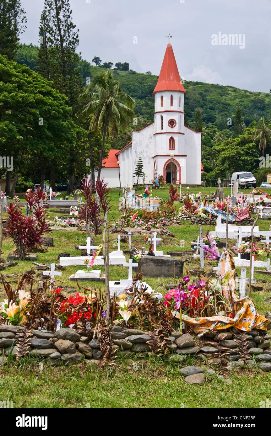 Church and graveyard of Tiéti - New Caledonia - Stock Image