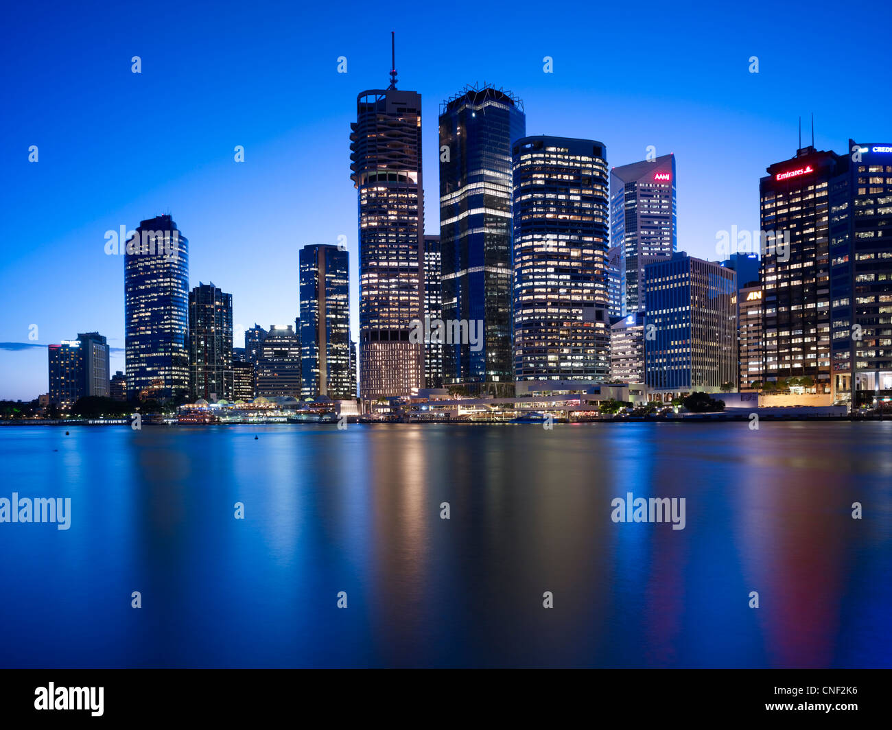 Brisbane cityscape at night - Stock Image
