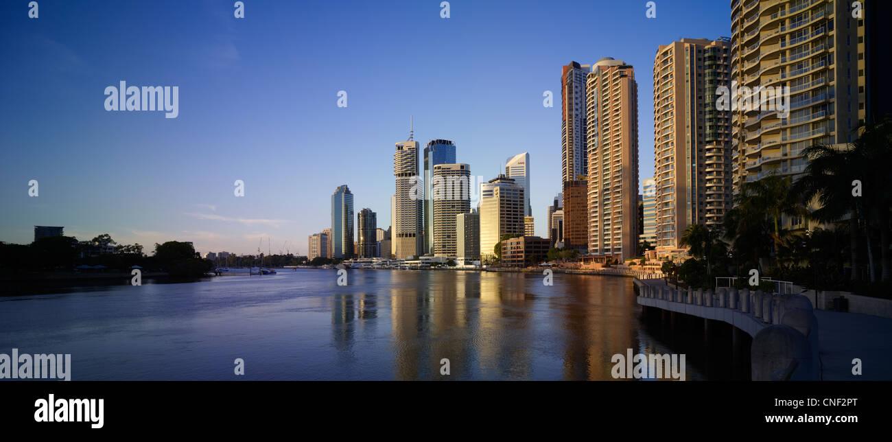 Brisbane panoramic cityscape dawn - Stock Image