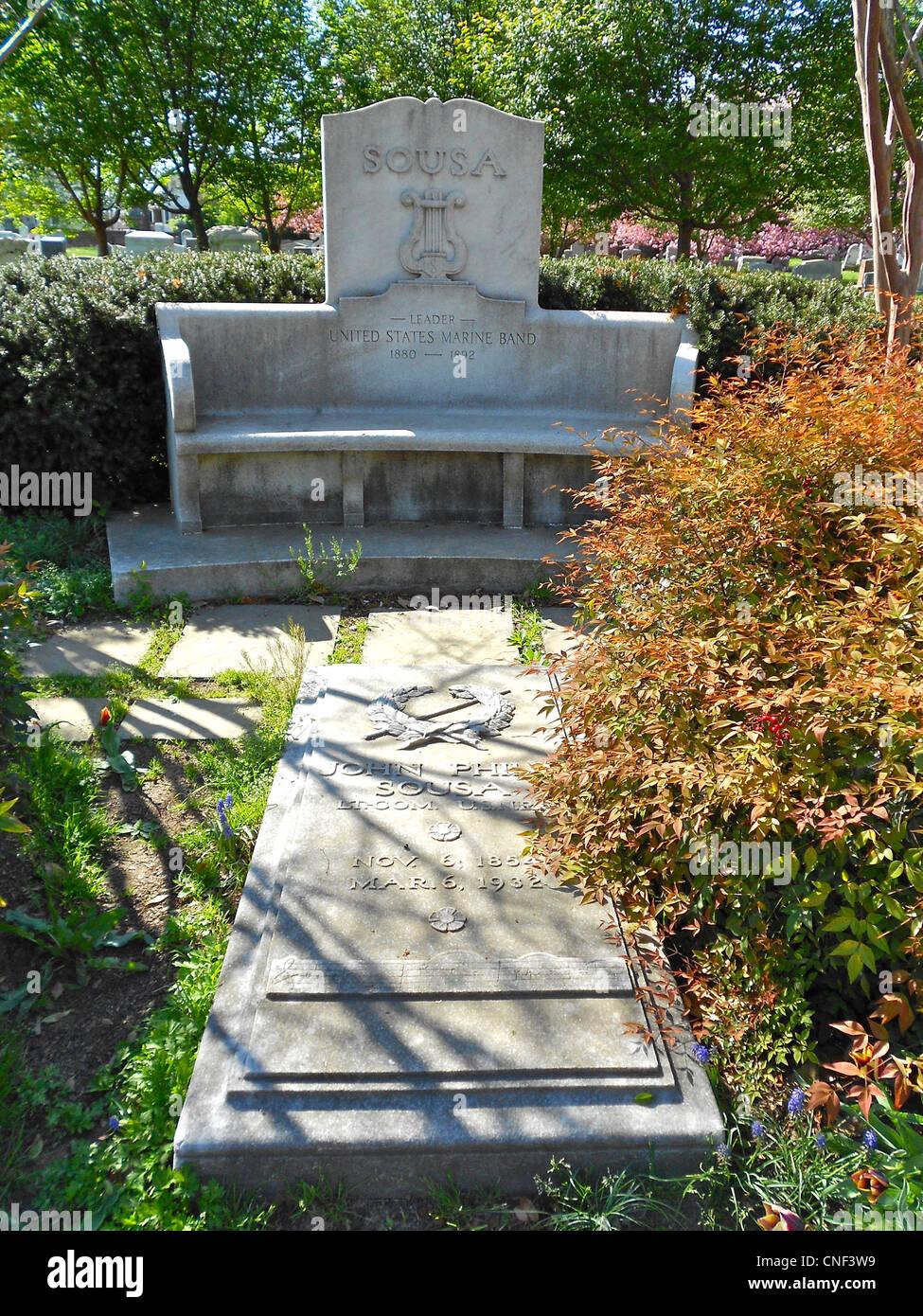 Grave of John Phillip Sousa in the Congressional Cemetery, Washington, DC. - Stock Image