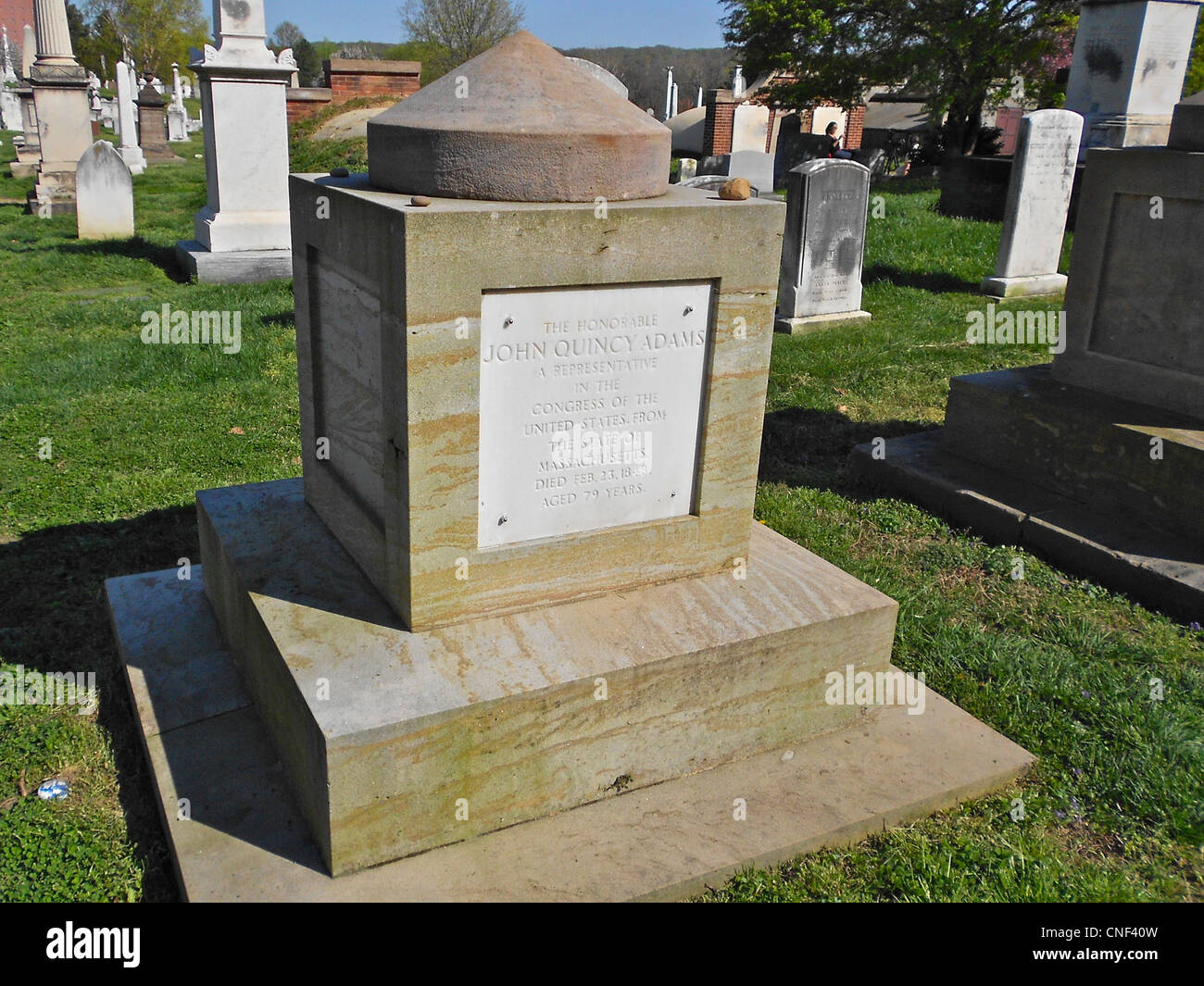 The cenotaph of Congressman (also former President of US) John Quincy Adams in the Congressional Cemetery, Washington, - Stock Image