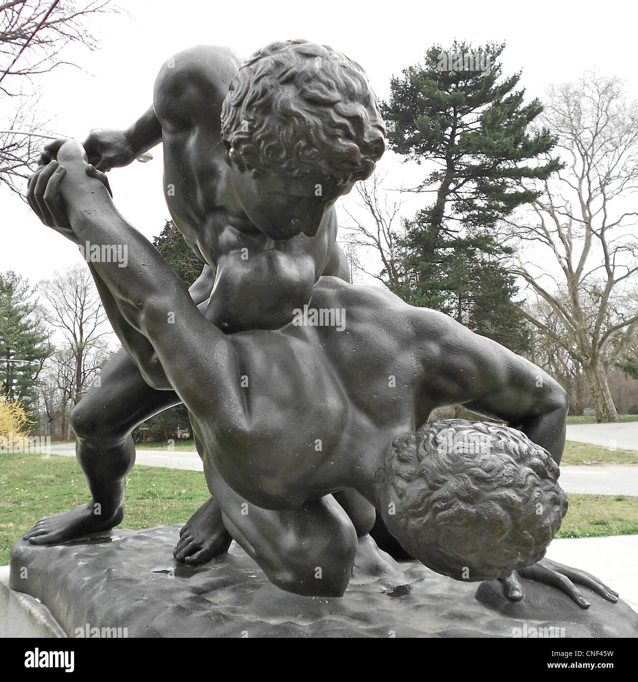 Wrestlers sculpture - cast from ancient statue now in Florence. Cast 1885, now in Fairmount Park at the Horticultural - Stock Image