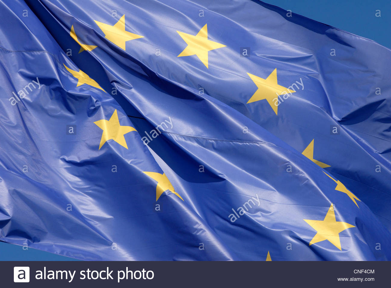 Amsterdam The Netherlands The flag of the European Union waving in the wind. - Stock Image