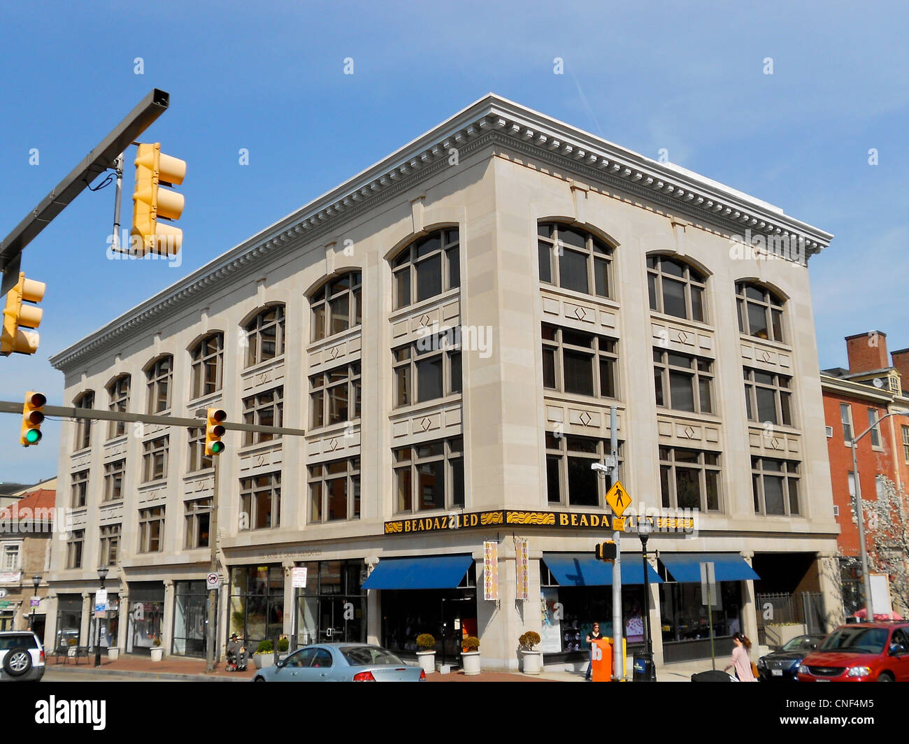 Benson Building on the NRHP since March 26, 1980. At 4 E. Franklin St. in central Baltimore, Maryland - Stock Image