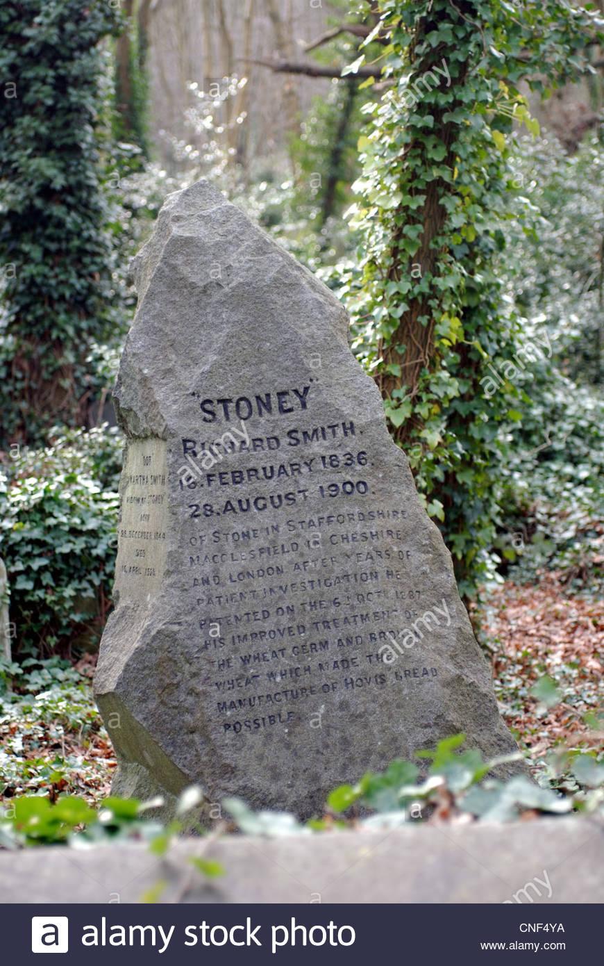 London United Kingdom Highgate Cemetery Grave of Richard 'Stoney' Smith inventor of 'Hovis' - Stock Image