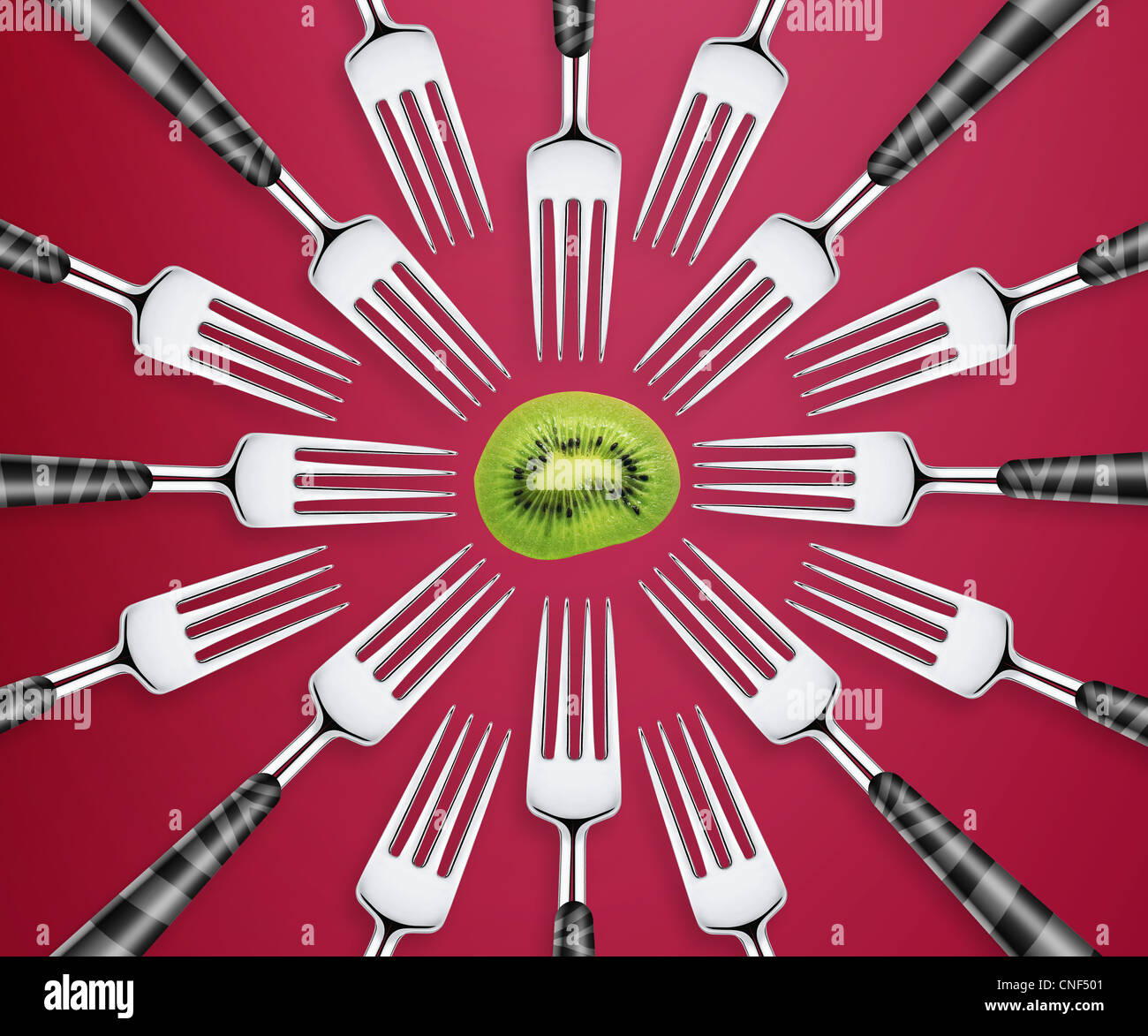 Empty copy space of Set of forks in competition on red background. - Stock Image