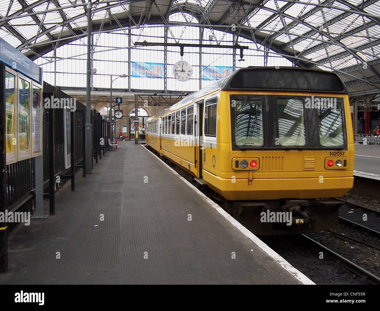 A refurbished Merseyrail Class 142 No. 142057 at Liverpool Lime Street Station - Stock Image