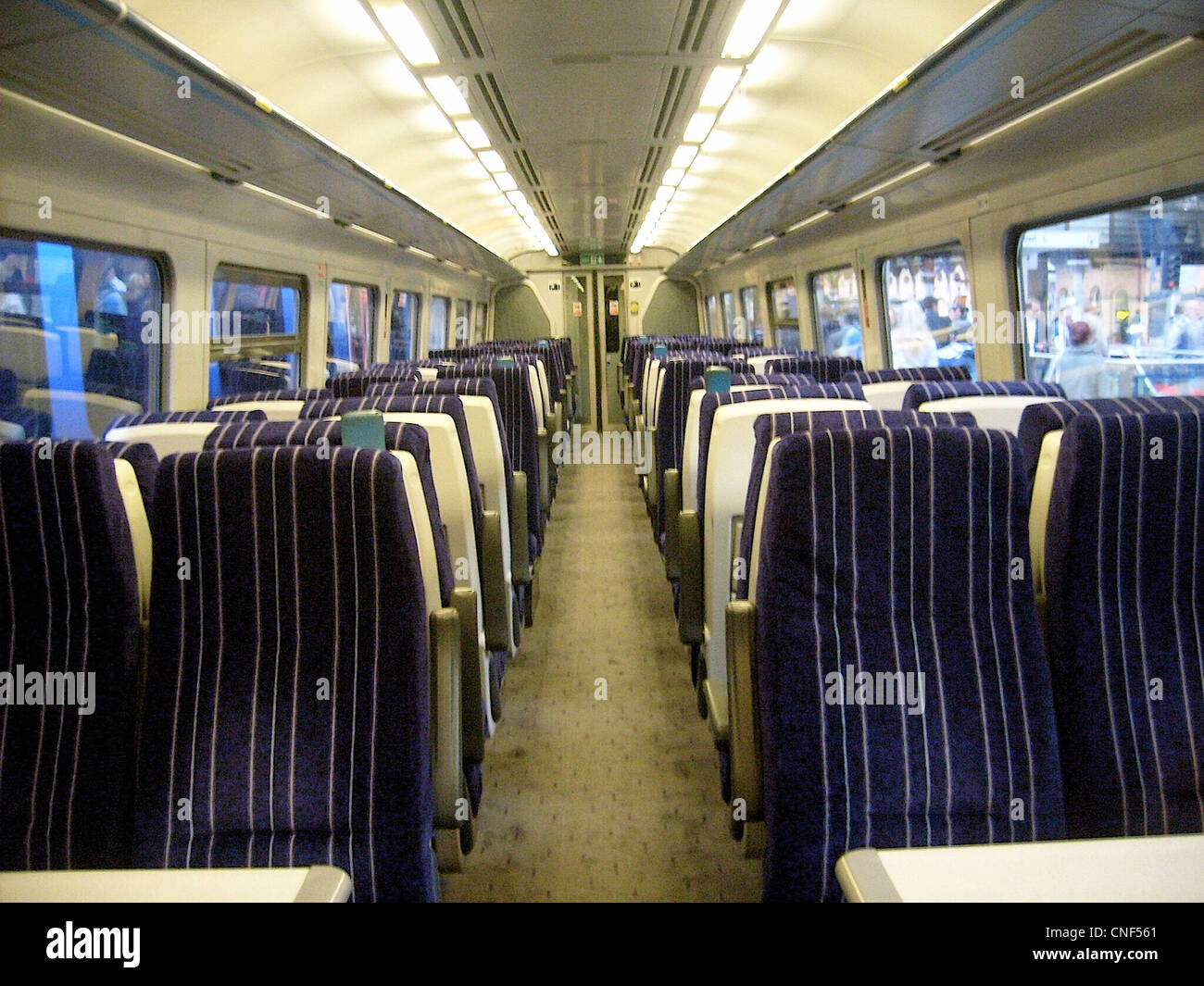 The interior of a refurbished Northern Rail Class 158 - Stock Image