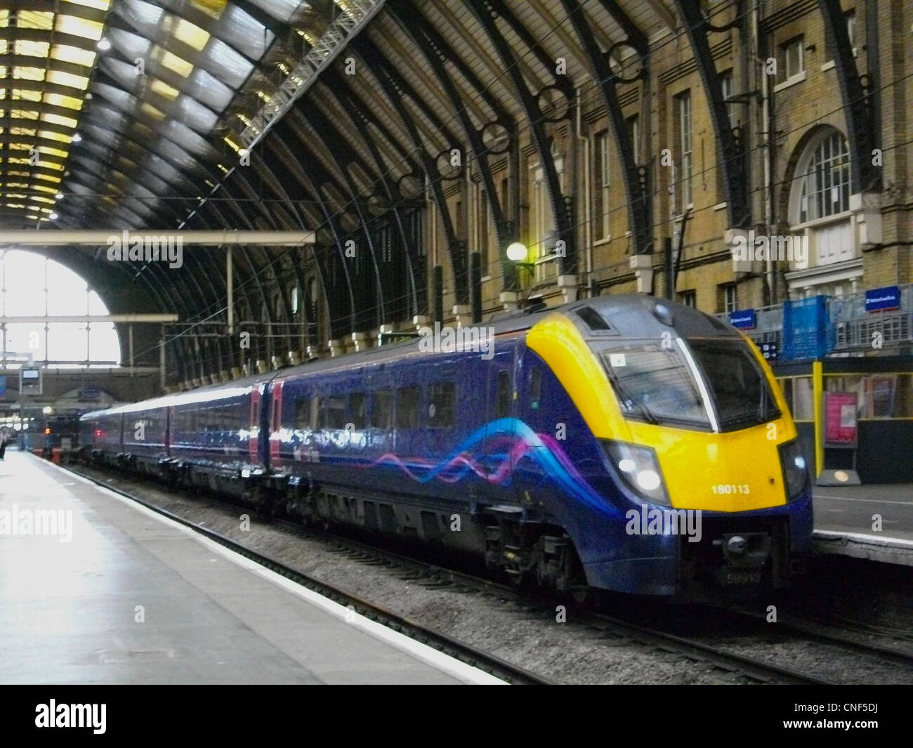 First Hull Trains refurbished Alstom Class 180 Adelante No. 180113 at London Kings Cross. - Stock Image