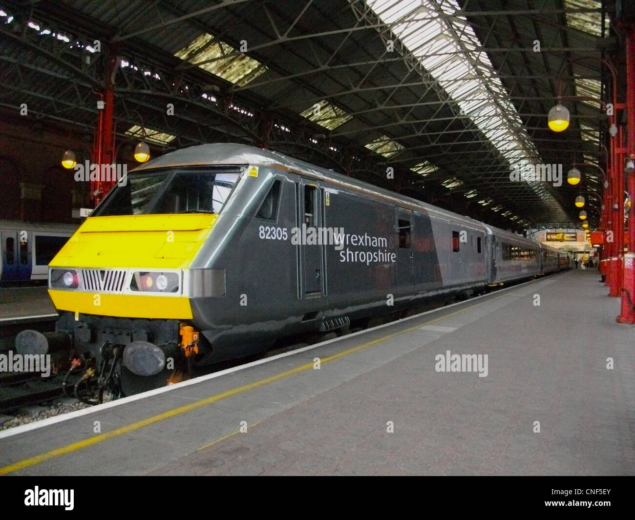 The first refurbished train for Wrexham & Shropshire stands at London Marylebone - Stock Image