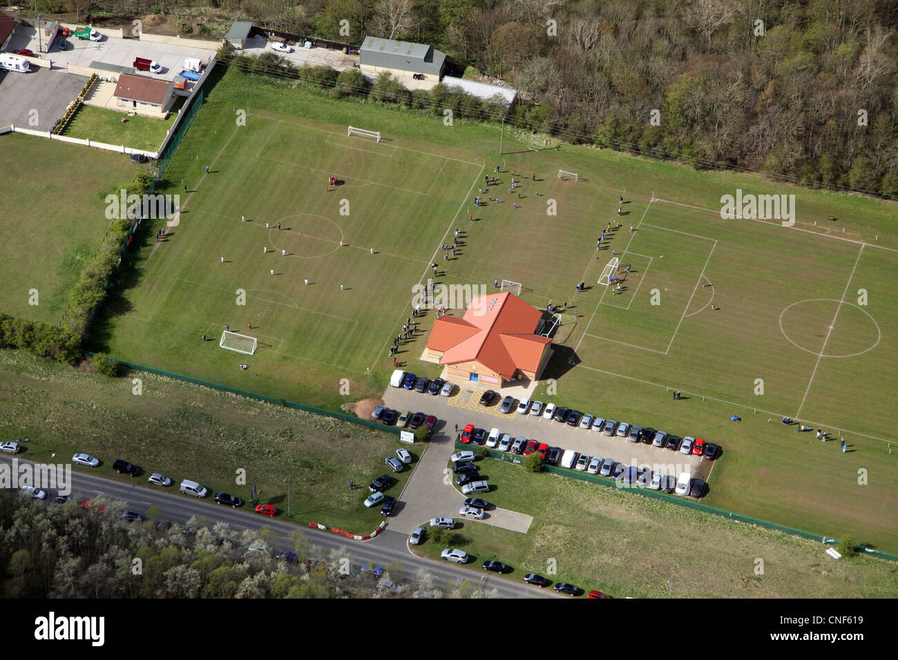 aerial view of Sunday morning football pitches - Stock Image