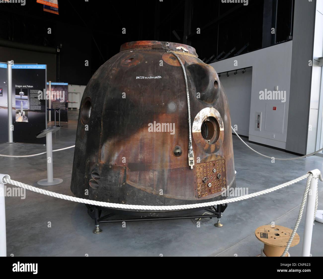 Soyuz TMA-14 descent module, The Museum of Flight, Seattle, Washington,WA, USA - Stock Image