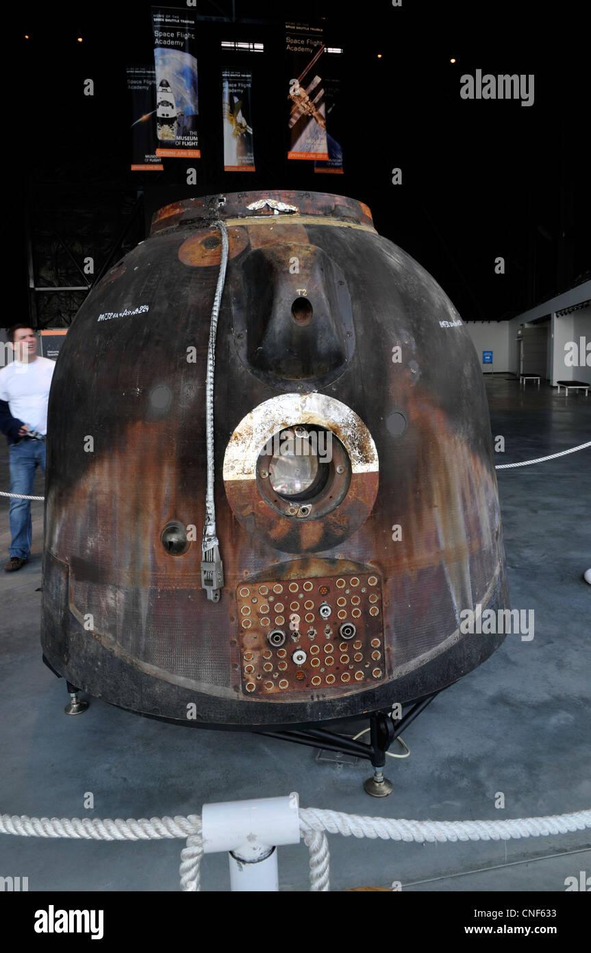 Soyuz TMA-14 descent module, The Museum of Flight, Seattle,Washington,WA, USA - Stock Image