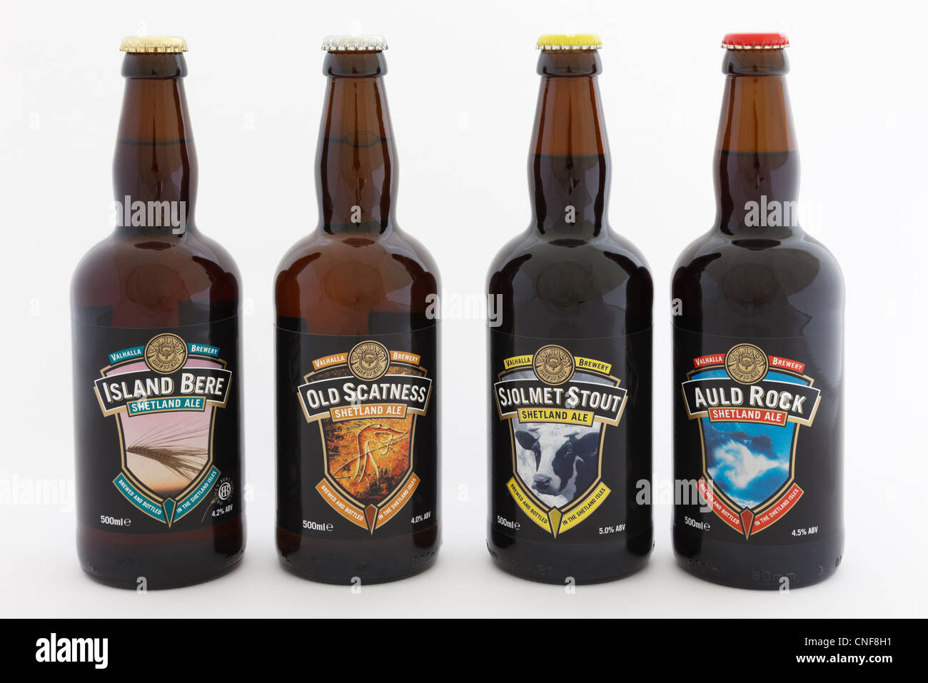 Four bottles of different varieties of Shetland Ale specialist local beers from Valhalla Brewery in Unst on a white - Stock Image