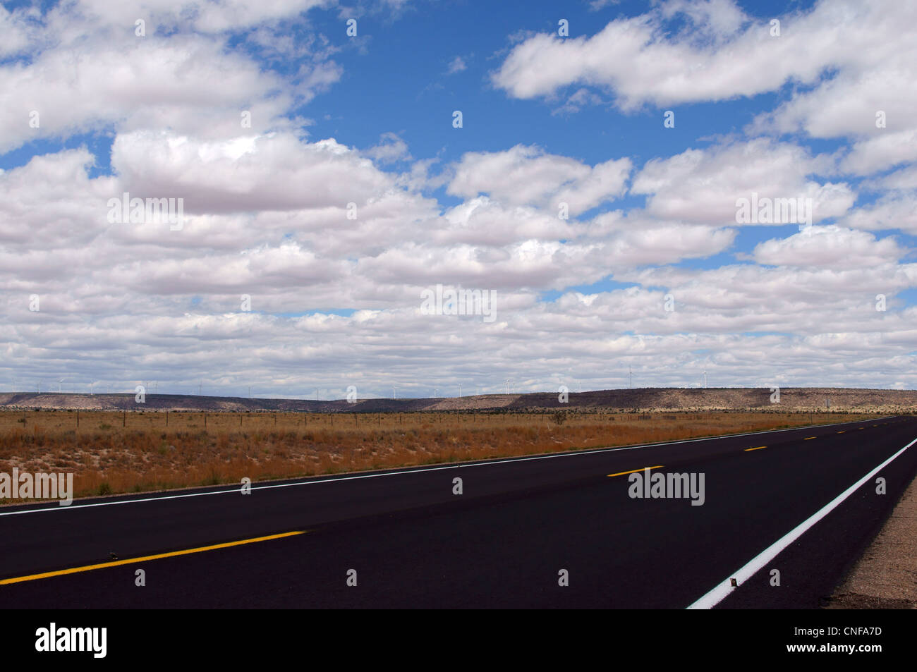 landscape hwy 84 highway new mexico nm blacktop road clouds view appearance aspect composition contour outdoor - Stock Image