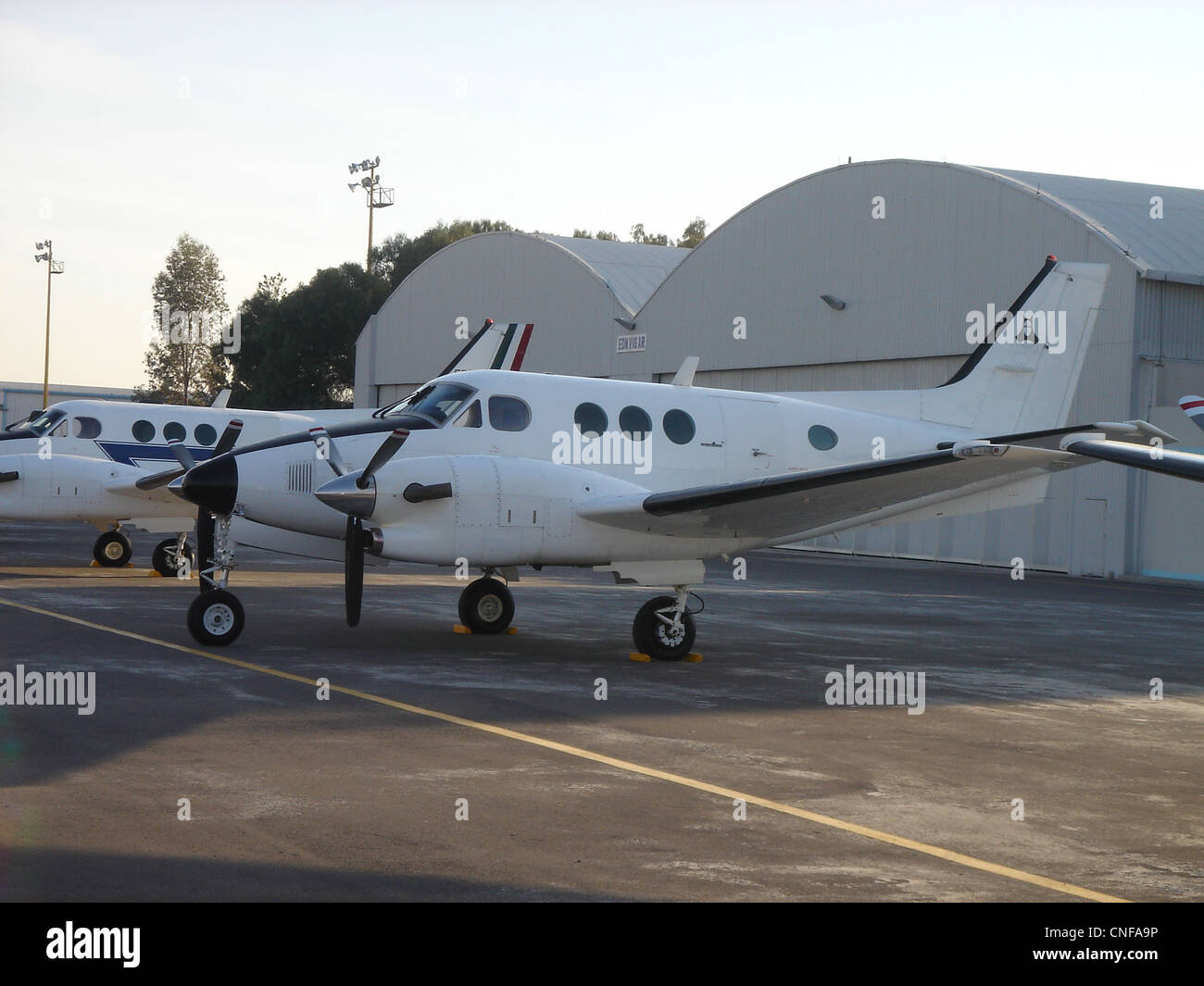 King Air C-90 in Santa Lucia AFB. - Stock Image