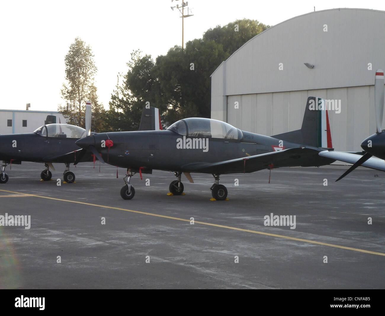 Pilatus PC-7 in Santa Lucia AFB - Stock Image