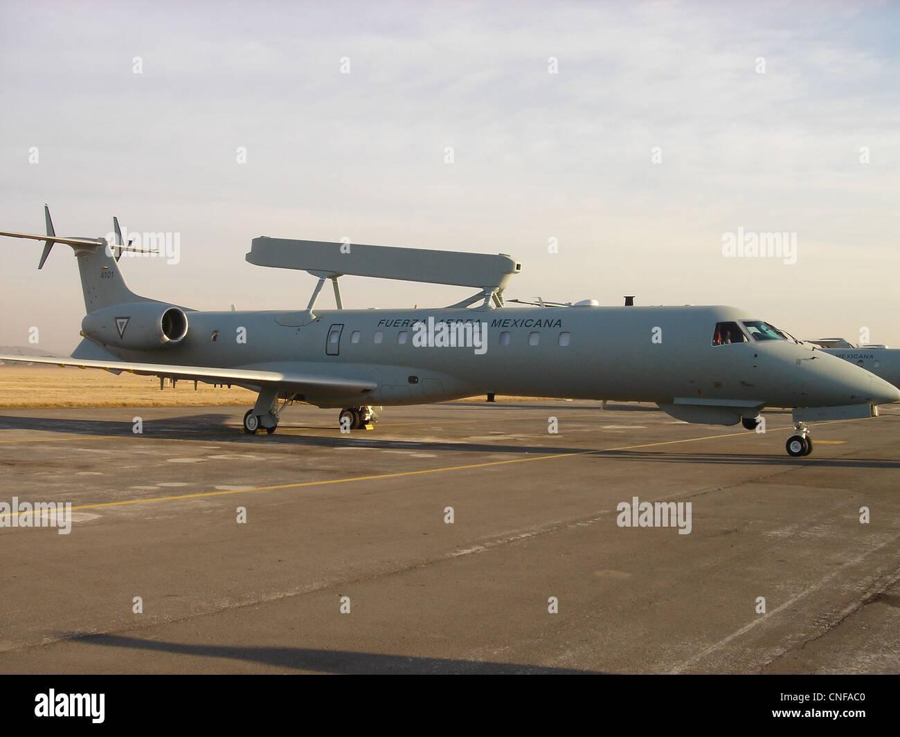 Embraer EMB-145AEW&C at Santa Lucia AFB. - Stock Image