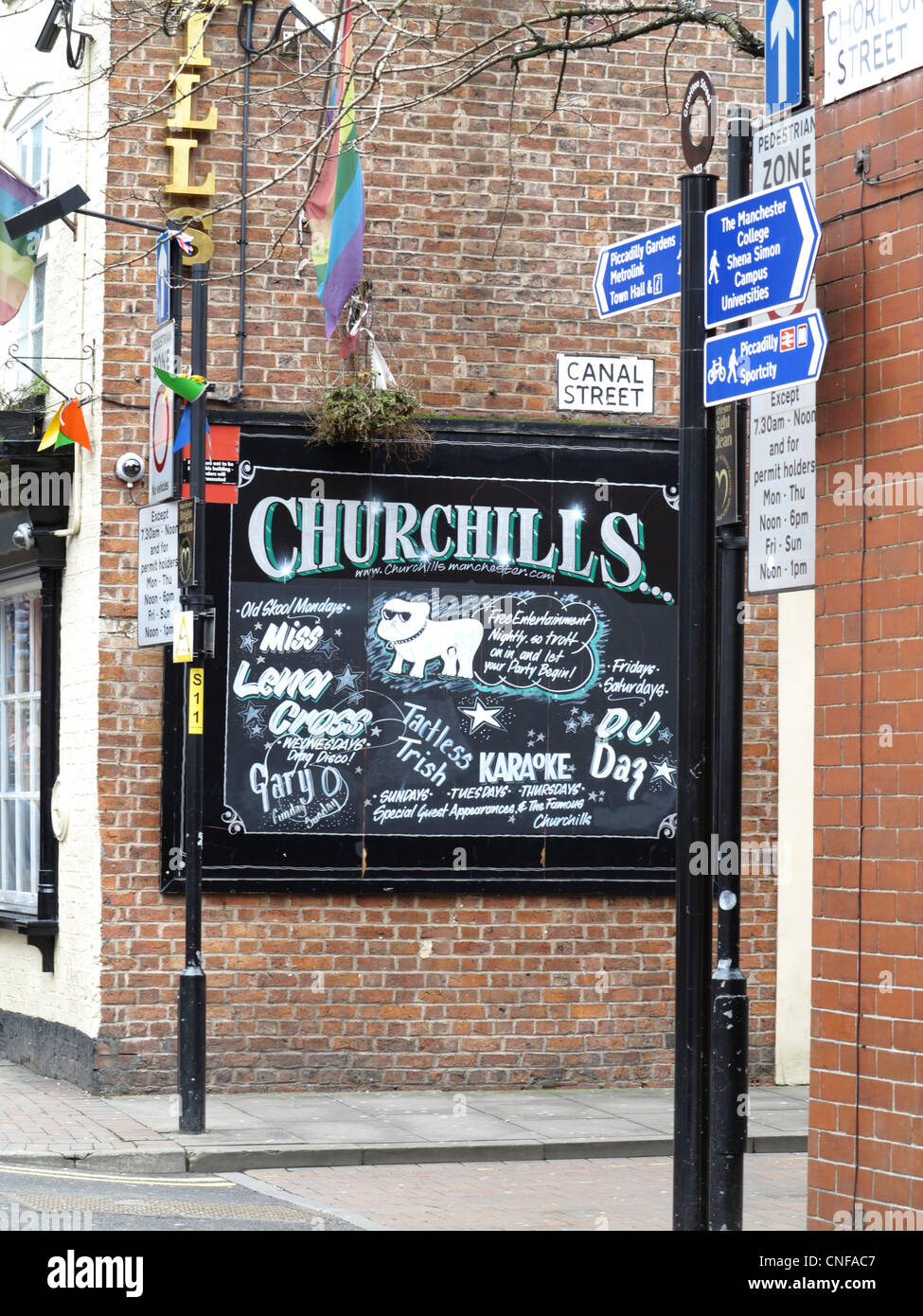 Churchills pub, Canal Street, Manchester - Stock Image
