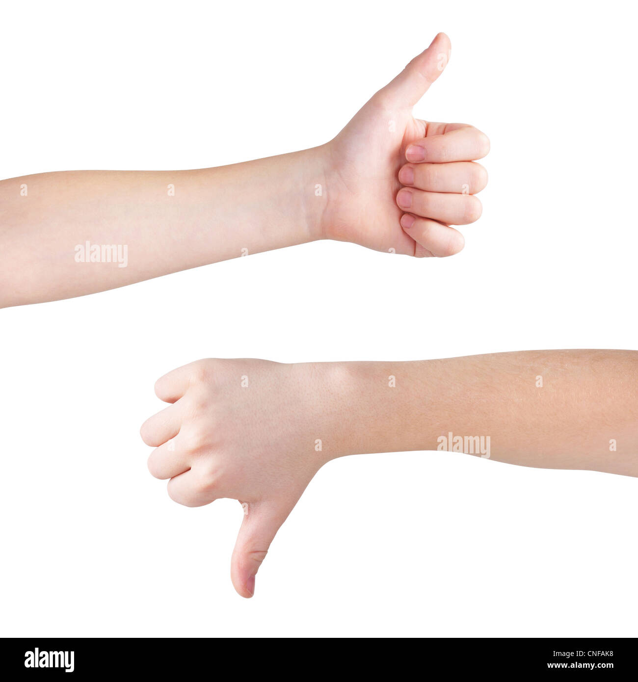 Thumbs up and down, isolated on white, clipping path - Stock Image