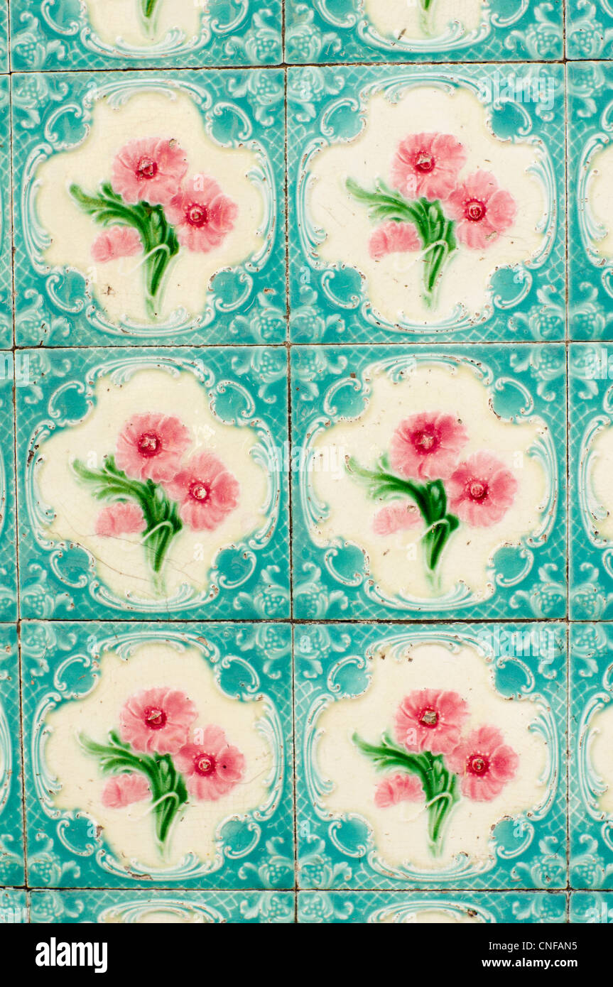 A variety of oriental tiles design is found in Penang, malaysia. - Stock Image