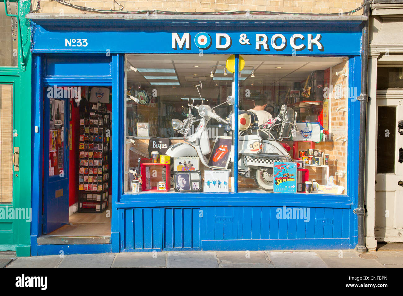 Mod and Rock. Mods and Rockers Memorabilia Shop in Canterbury UK. Music Lamberetta Vespa Scooter. Specialist Shop - Stock Image