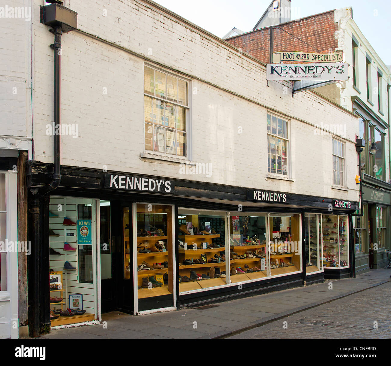 Kennedys Shoe Shop Sun Street Canterbury Kent UK. A family run business for over 60 years in Canterbury. Quality - Stock Image