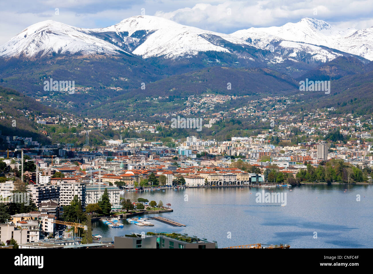 Lugano, lakefront, Switzerland, Ticino - Stock Image