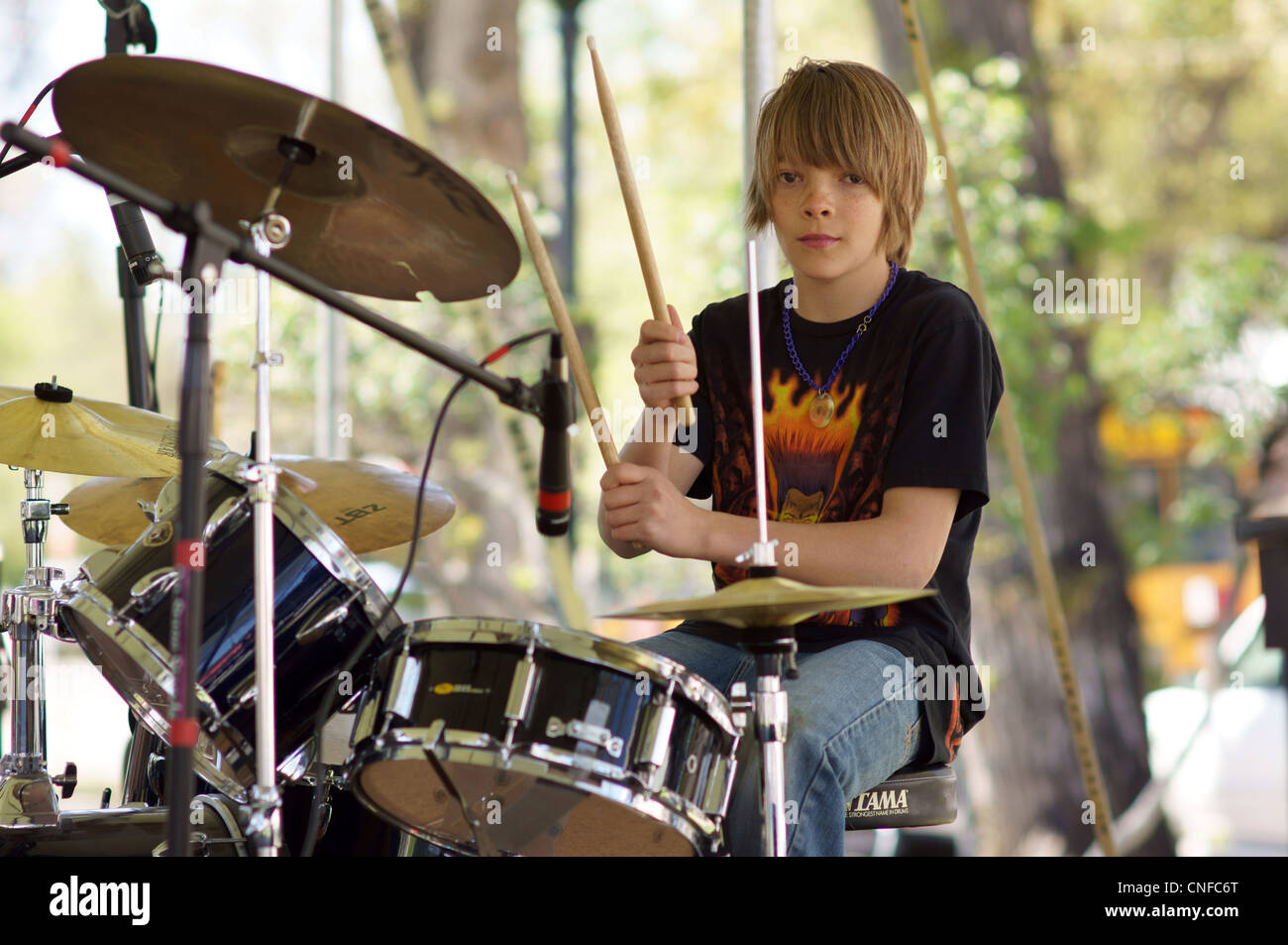 boy male drummer teen teenager sequence music musician play drumming drum synergy festival las vegas new - Stock Image