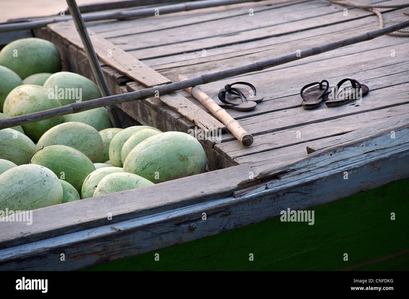 Detail of watermelons on a boat, Mandalay, Burma. Myanmar - Stock Image