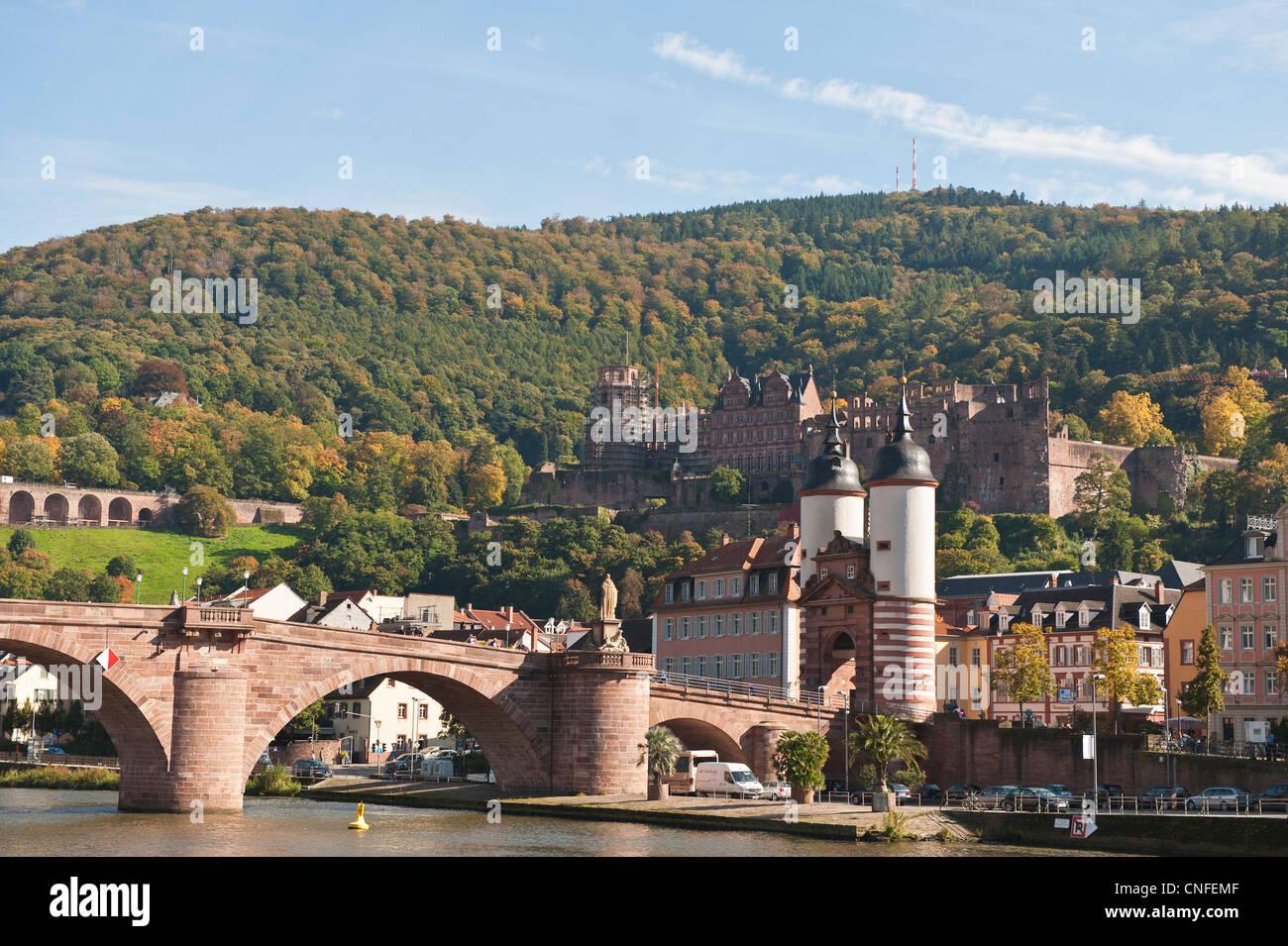 The Alte Brucke or Old Bridge and Neckar River in Old Town, Heidelberg, Germany. Stock Photo