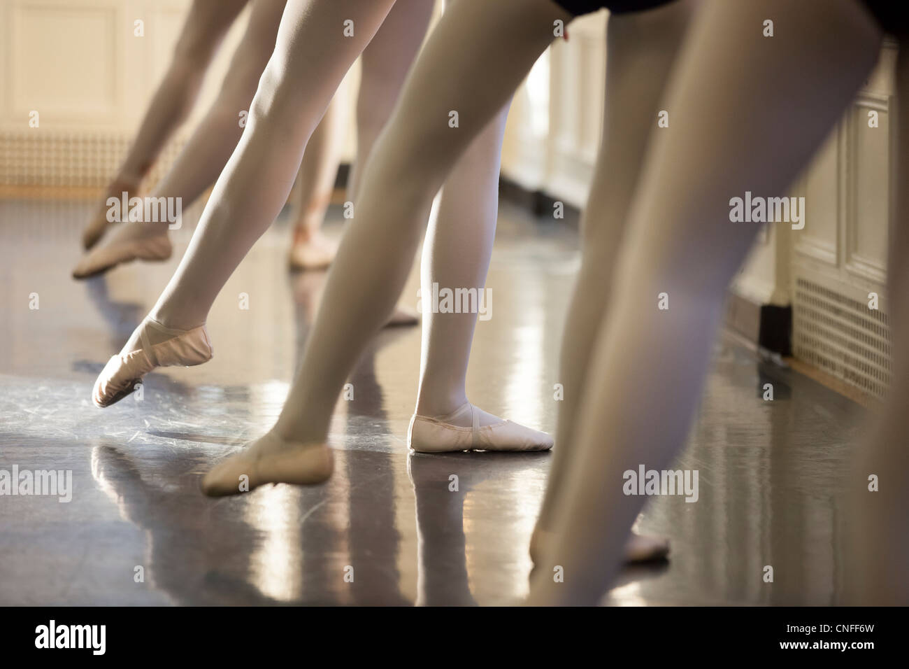 Young dancers at the bar - Stock Image