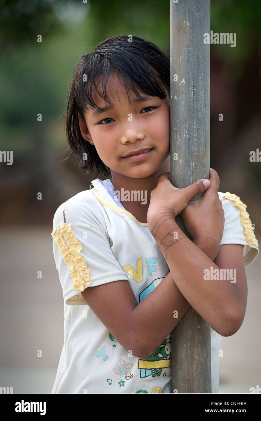 Portrait of a Burmese girl, Lashio, Burma - Stock Image