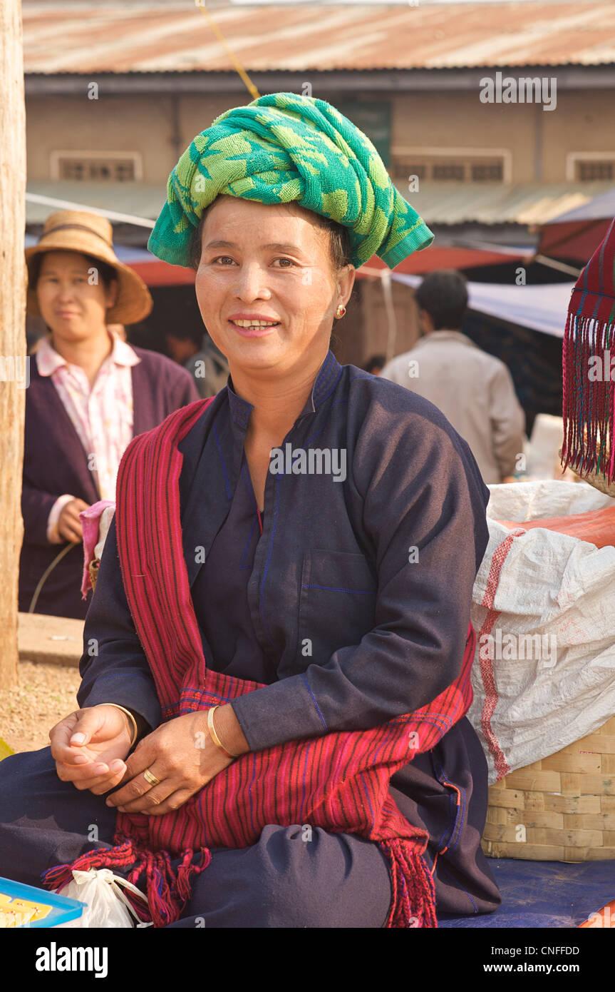 Burmese hilltribe woman in distinctive indigenous costume. Culturally relevant image. Naung Mon, Lashio, Burma. - Stock Image