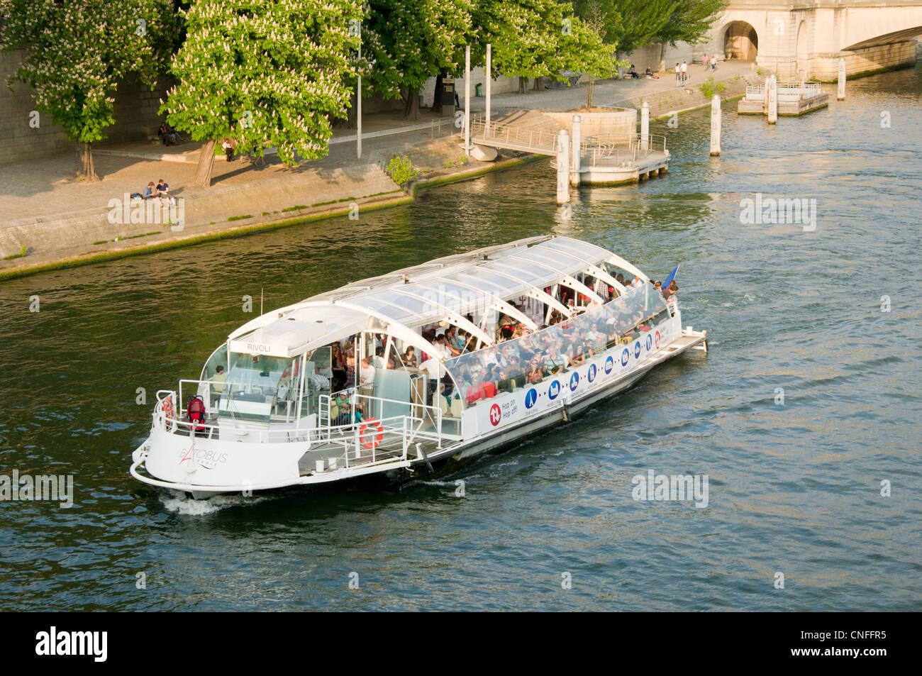 Batobus shuttle boat cruises the River Seine