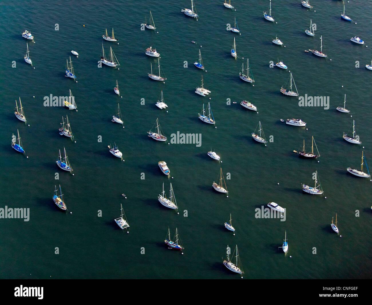 aerial photograph boats anchored San Diego bay, California - Stock Image