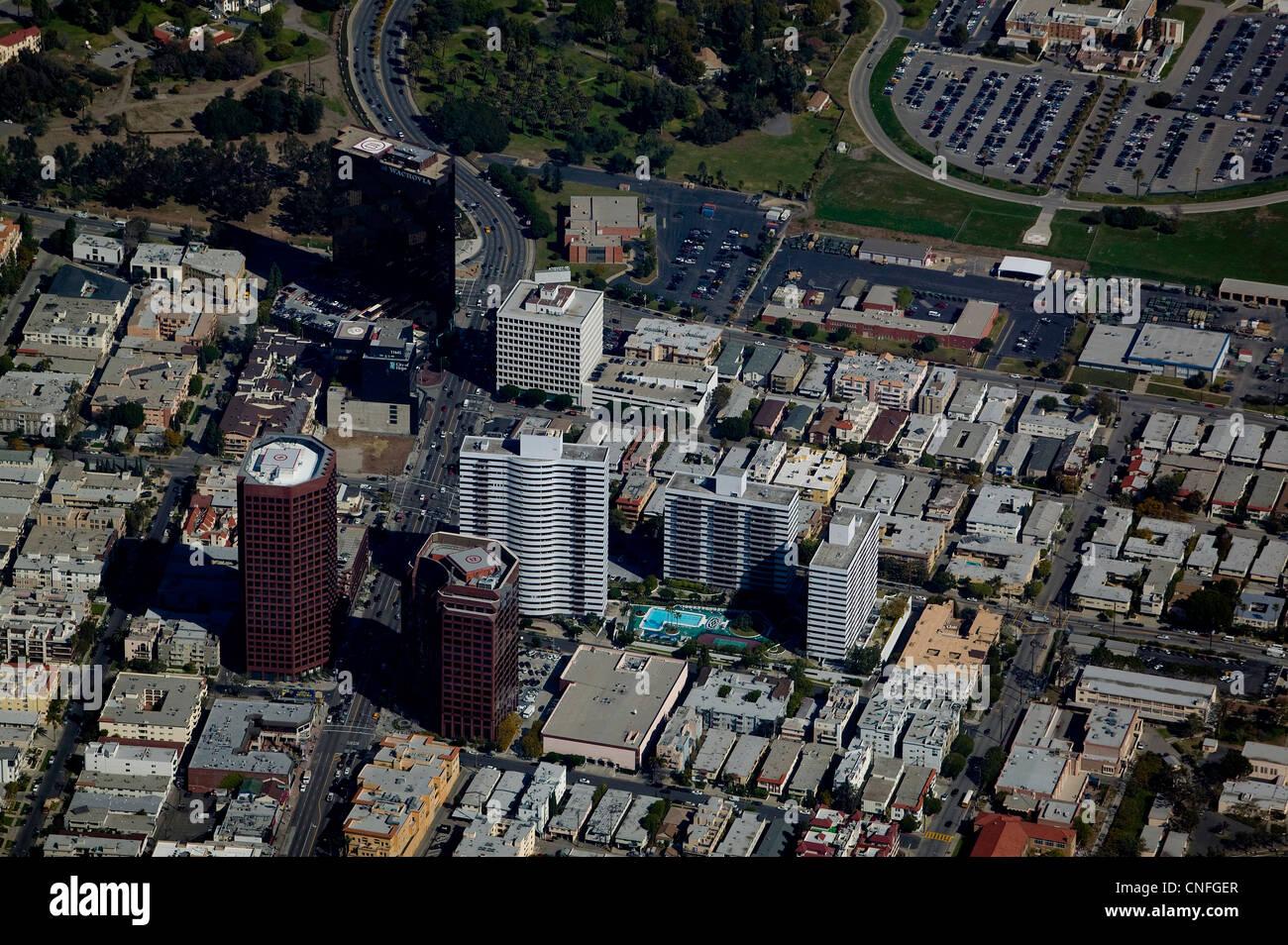 aerial photograph Wilshire Blvd, Wachovia Center, Los Angeles, California - Stock Image