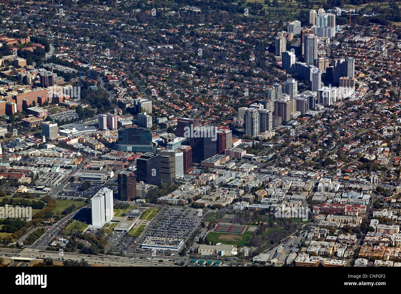 aerial photograph Wilshire Boulevard, Los Angeles, California - Stock Image