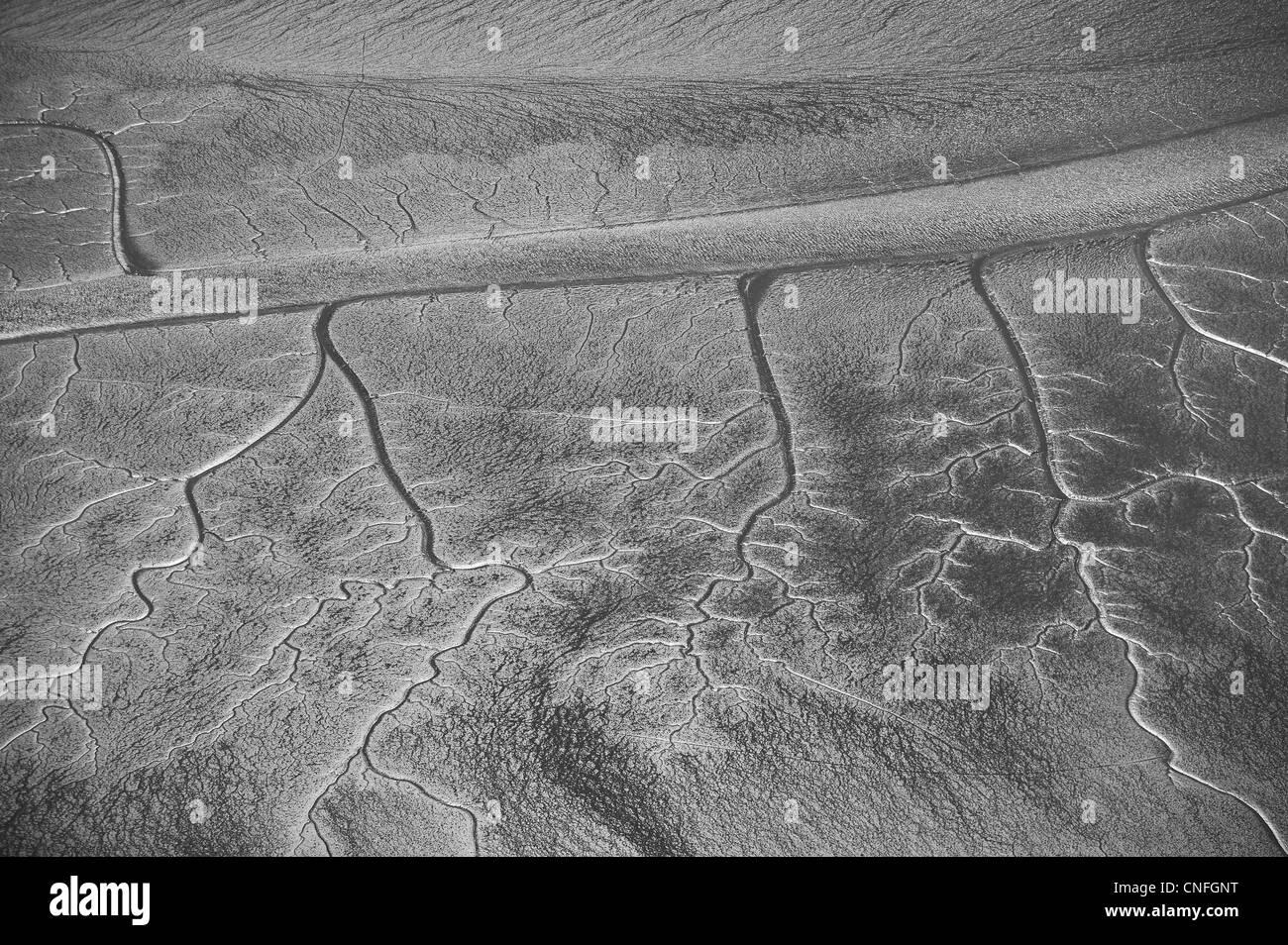 aerial photograph tidal wetlands mud flats San Francisco bay - Stock Image