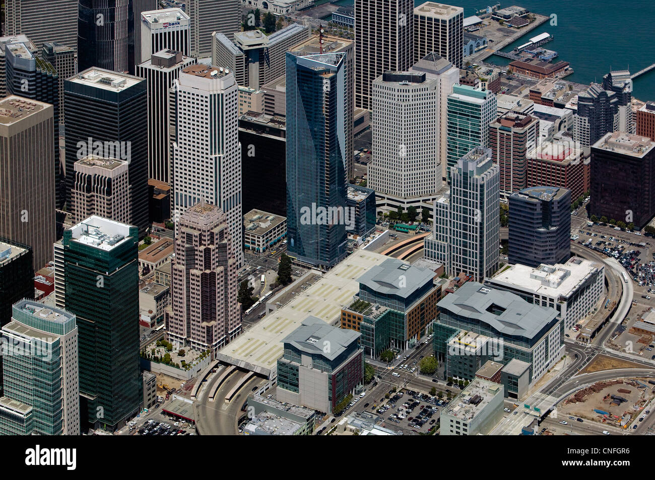 aerial photograph, Millenium tower, Spear Street Towers, Foundry Square, skyscrapers San Francisco California, - Stock Image