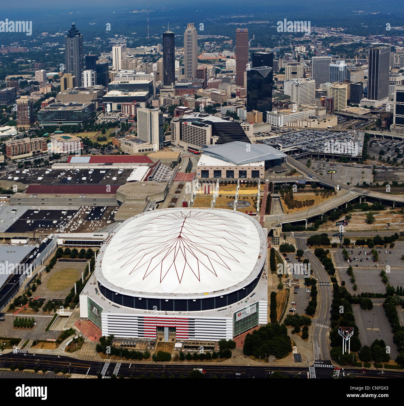 aerial photograph Superdome Atlanta Georgia - Stock Image