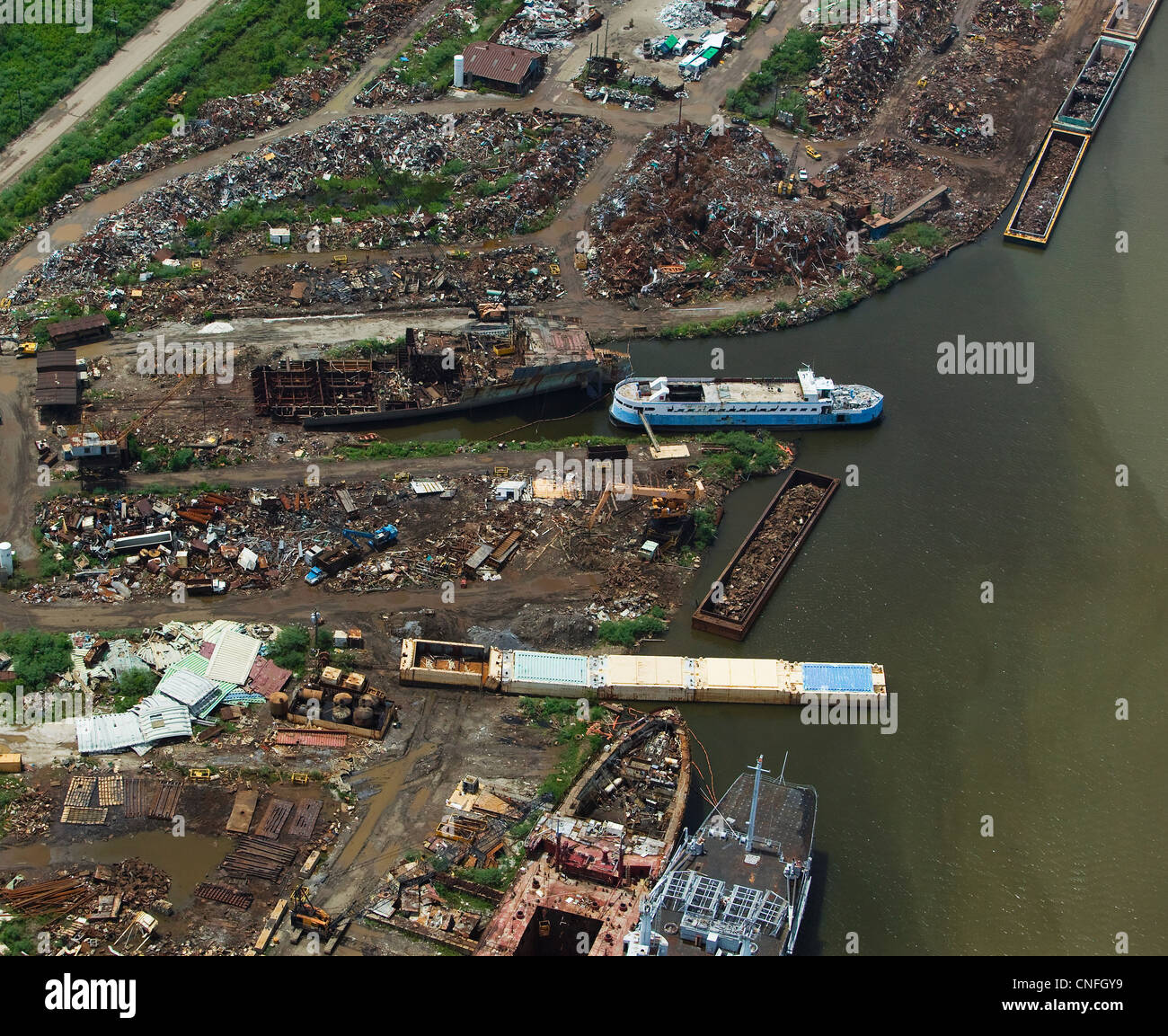 aerial photograph of rubble trash lower 9th Ward New Orleans hurricane Katrina aftermath - Stock Image