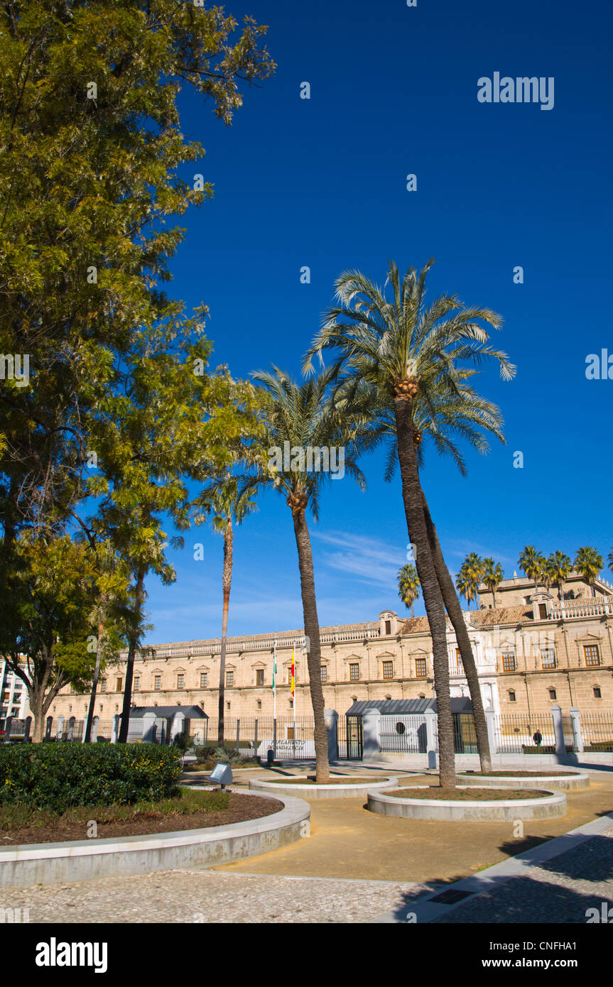 Park in front of Parlamento de Andalucia housed in Antiguo Hospital de la Cinco Llagas palace Seville Andalusia - Stock Image