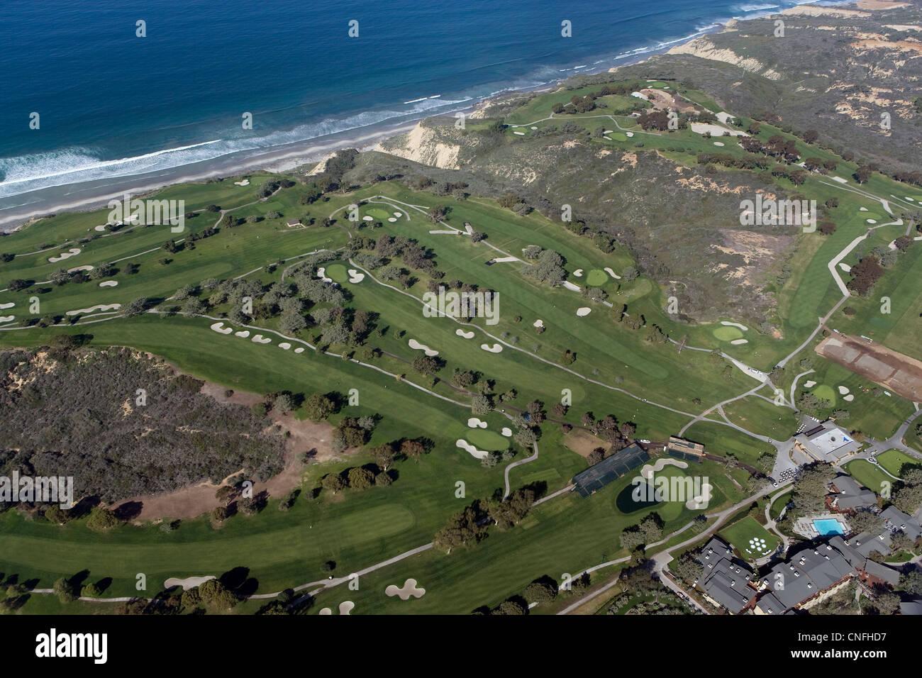 aerial photograph Torrey Pines Golf Course, La Jolla, California - Stock Image