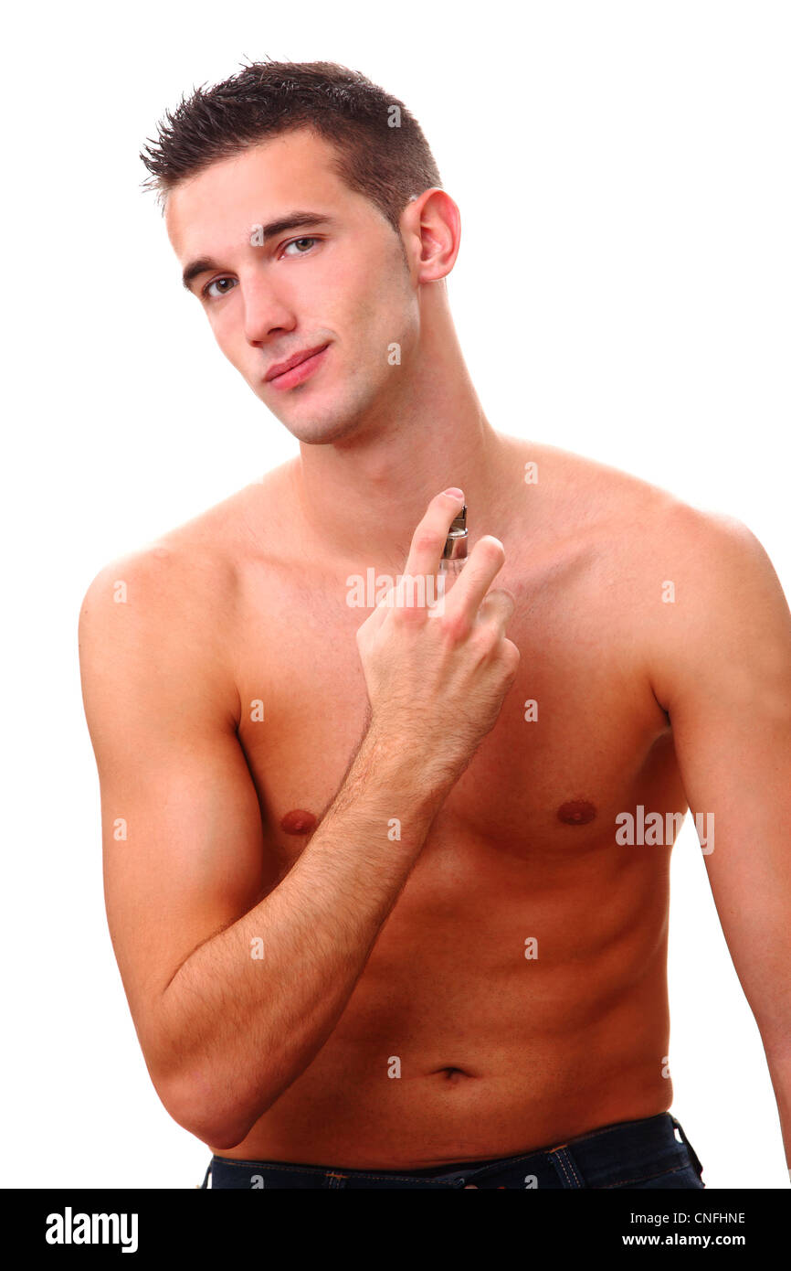 young man smell nice - Stock Image