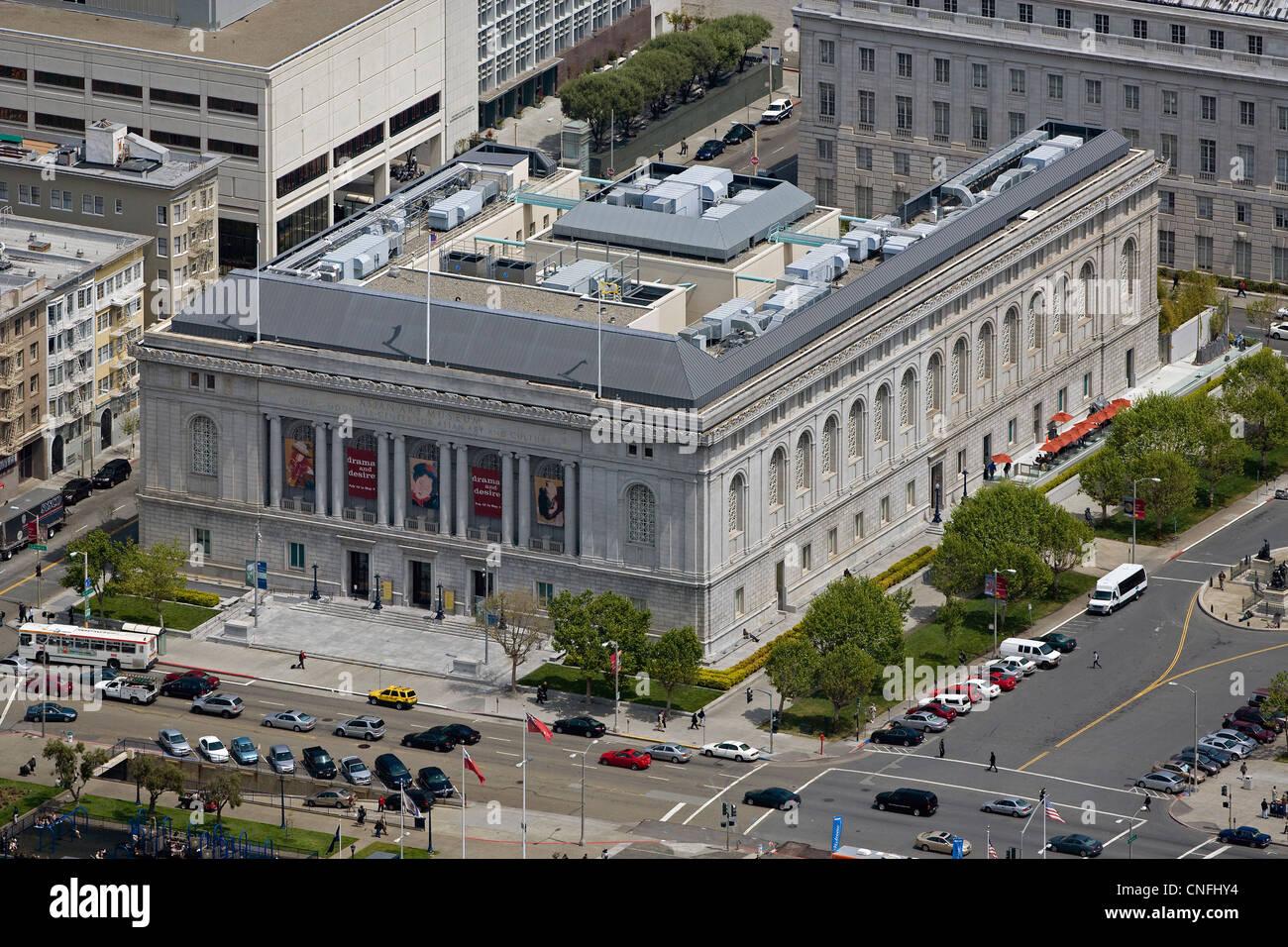 aerial photograph Asian Art Museum Civic Center San Francisco, California - Stock Image
