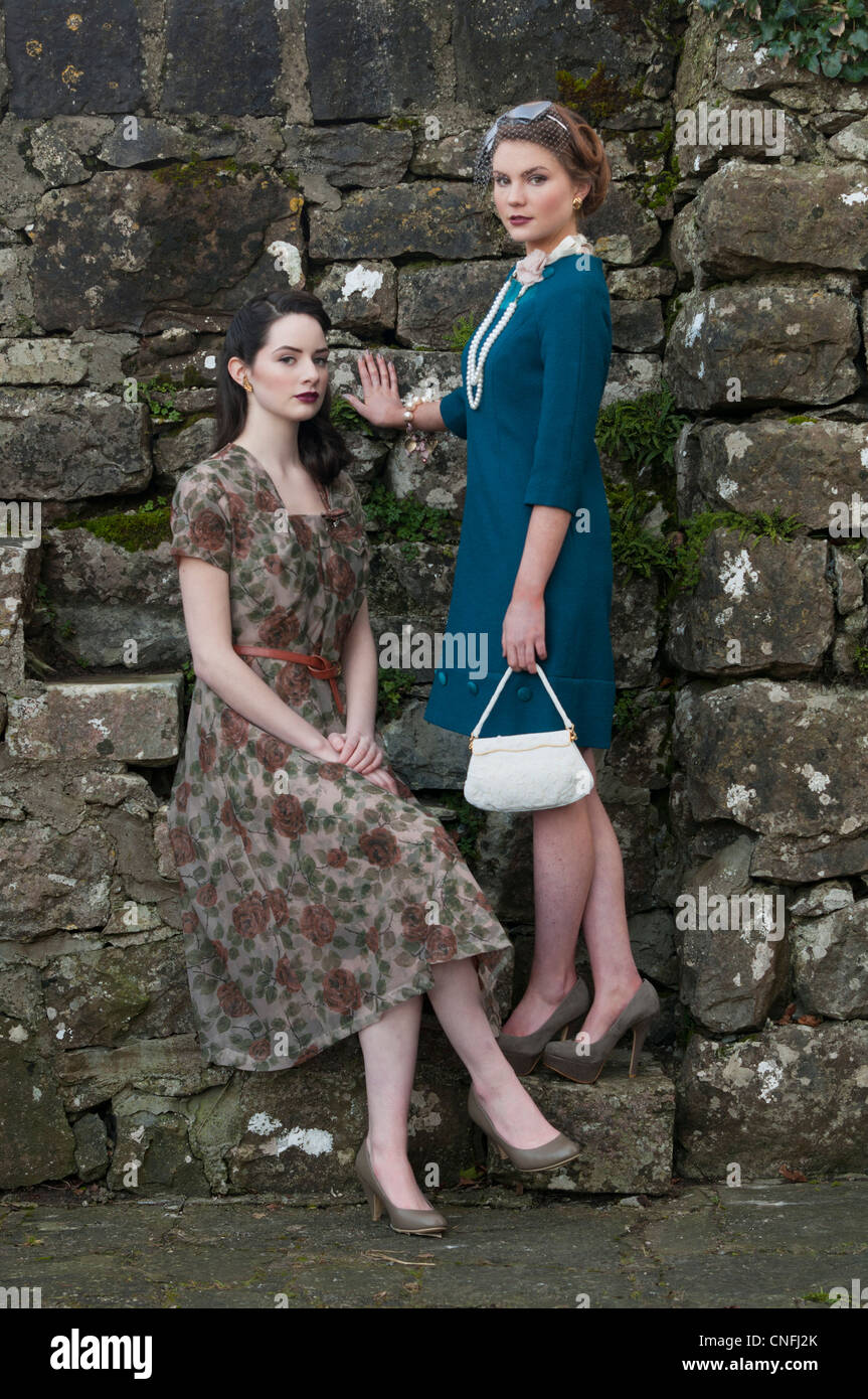 two models in 1950's clothing in Ireland - Stock Image